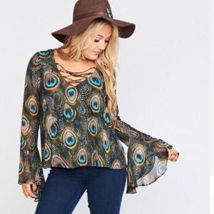 Show Me Your Mumu peacock bell sleeve blouse